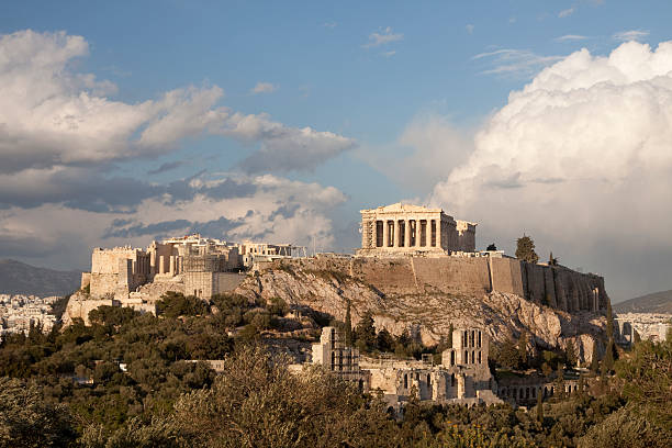 Aerial view of the Acropolis in Athens stock photo