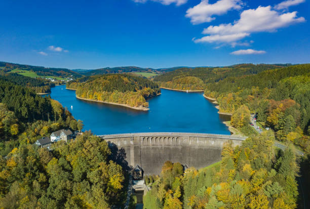 Aerial view of the agger dam in Gummersbach