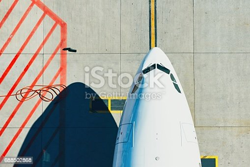 istock Aerial view of the airplane 688502868