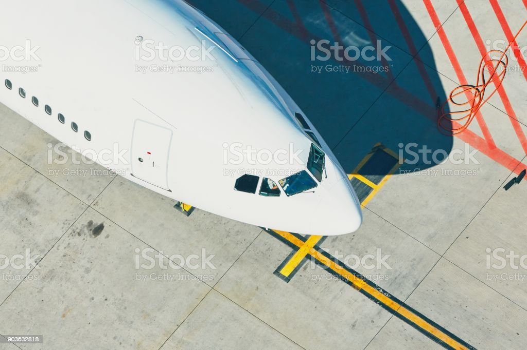 Aerial view of the airport stock photo