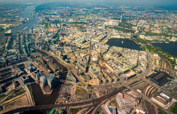 Aerial view of the Alster in Hamburg stock photo