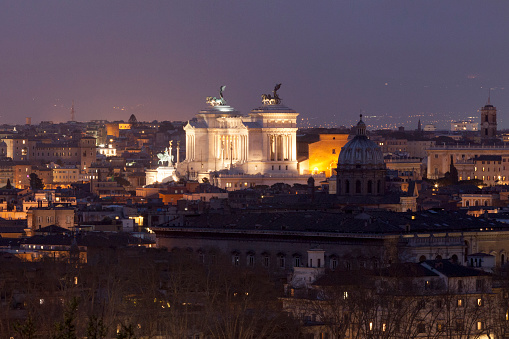 Aerial View Of The Altare Della Patria In Rome By Night Stock Photo - Download Image Now