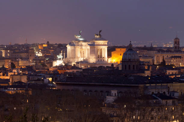 aerial view of the altare della patria in rome by night - della stock pictures, royalty-free photos & images