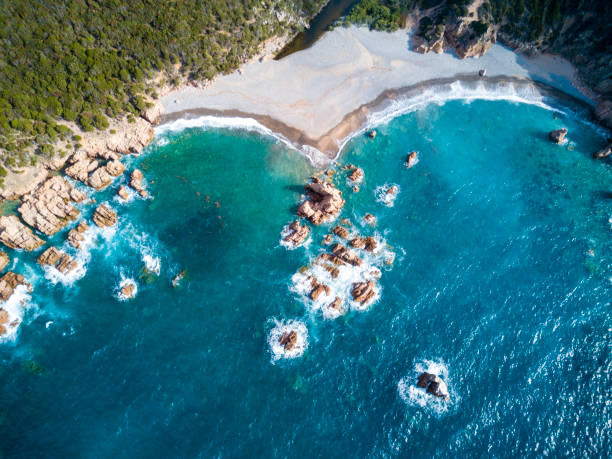 Aerial view of the amazing turquoise beach.