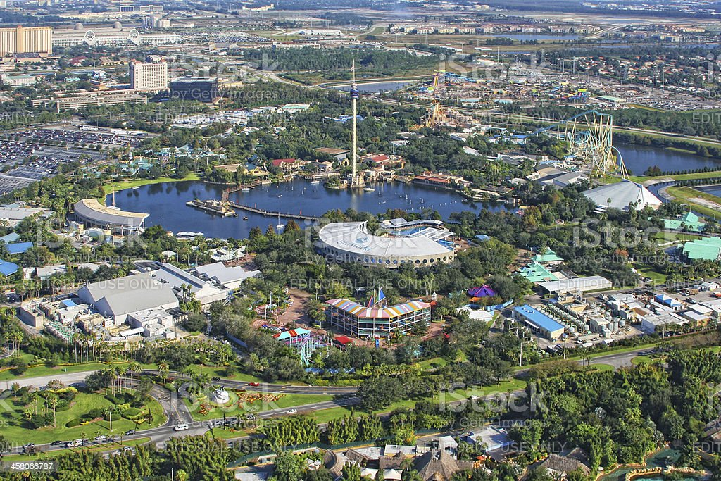 Aerial view of the amusement park Sea World Orlando, USA stock photo