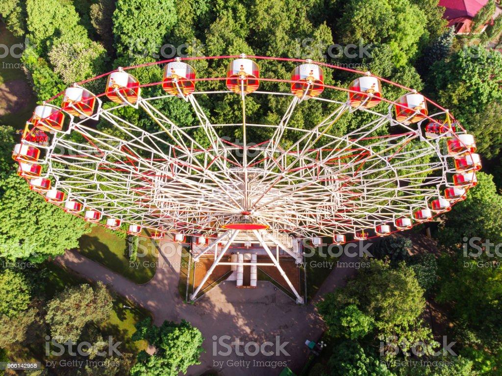 aerial view of the amusement park with ferris wheel - Foto stock royalty-free di Albero