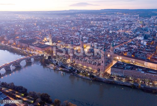 istock Aerial view of the ancient spanish city of Zaragoza on dawn 1219066071