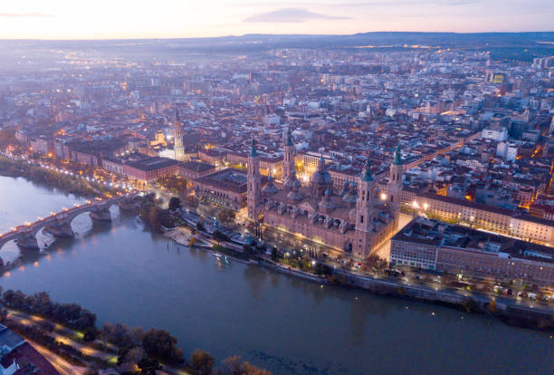 Aerial view of the ancient spanish city of Zaragoza on dawn stock photo
