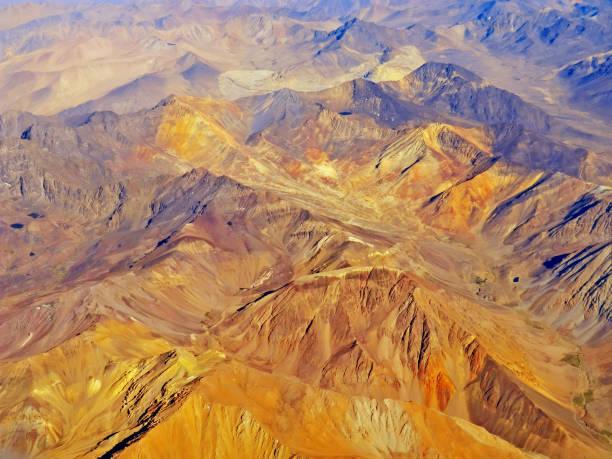 Luftaufnahme der Anden mit bunten Bergen – Foto