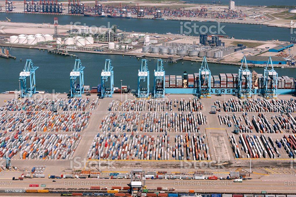 Aerial view of the APM container terminal in rotterdam, Netherla - Royalty-free Aangemeerd Stockfoto