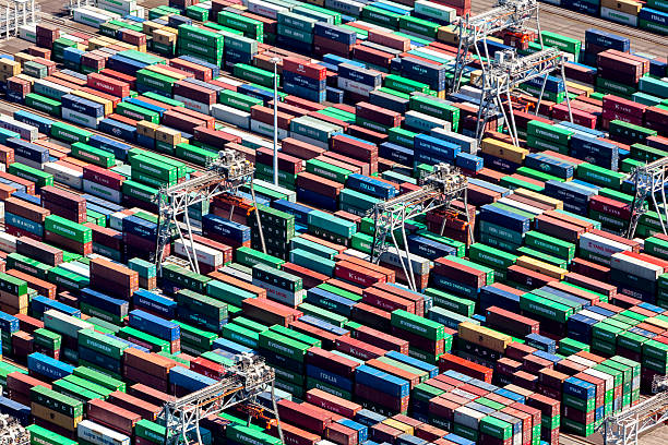 Aerial view of the APM container terminal in rotterdam, Netherla​​​ foto