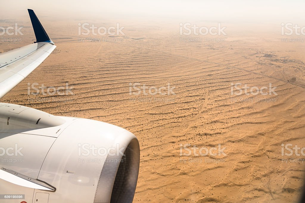 aerial view of the arabian desert stock photo