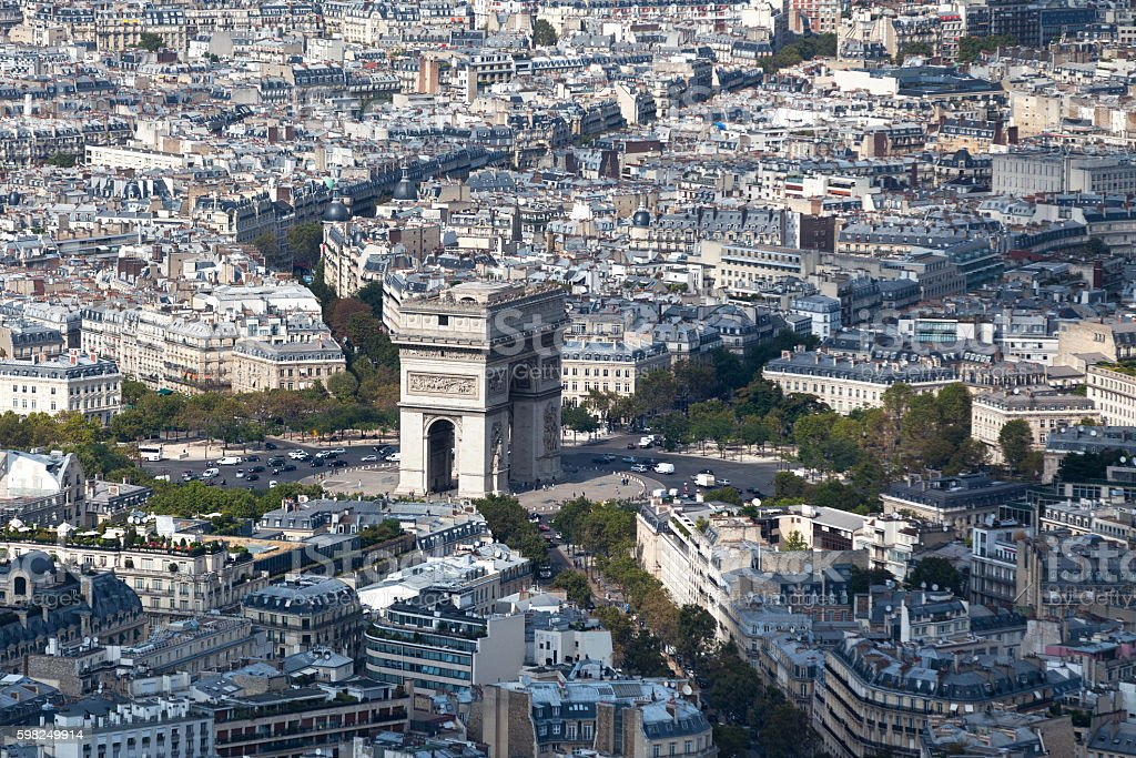 Aerial view of the Arc de Triomphe stock photo