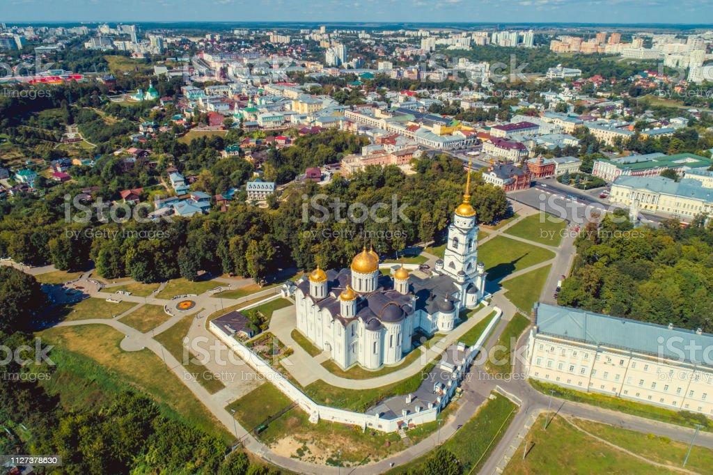 Vue aérienne de la cathédrale de la Dormition à Vladimir (Russie) - Photo