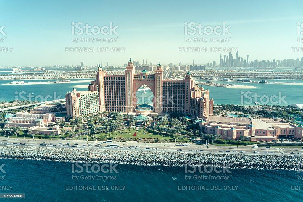 Aerial view of the Atlantis Resort luxury hotel, Dubai stock photo