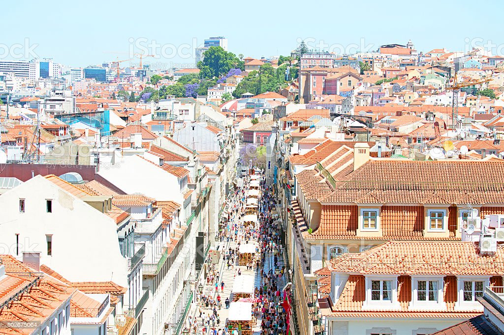 Aerial view of the Augusta Street  in Lisbon Portugal stock photo