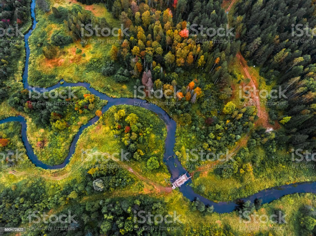 Aerial view of the autumn forest stock photo