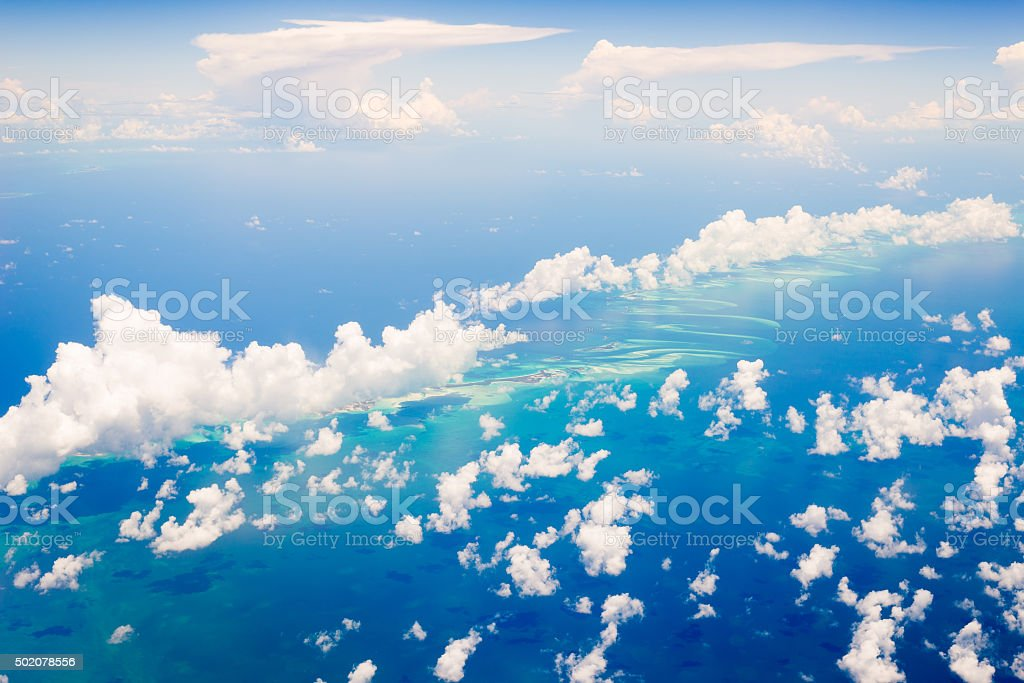 Aerial view of the Bahamas stock photo