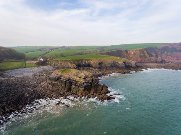 Aerial view of The Bay at Stackpole Quay stock photo