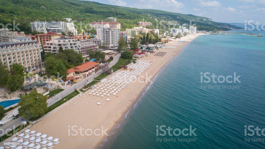 Aerial view of the beach and hotels in Golden Sands, Zlatni Piasaci. Popular summer resort near Varna, Bulgaria stock photo