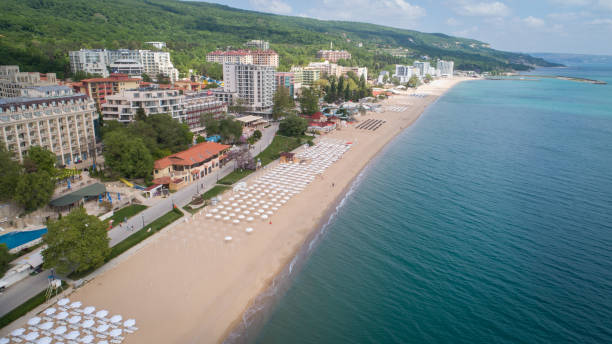 Aerial view of the beach and hotels in Golden Sands, Zlatni Piasaci. Popular summer resort near Varna, Bulgaria Aerial view of the beach and hotels in Golden Sands, Zlatni Piasaci. Popular summer resort near Varna, Bulgaria bulgaria stock pictures, royalty-free photos & images