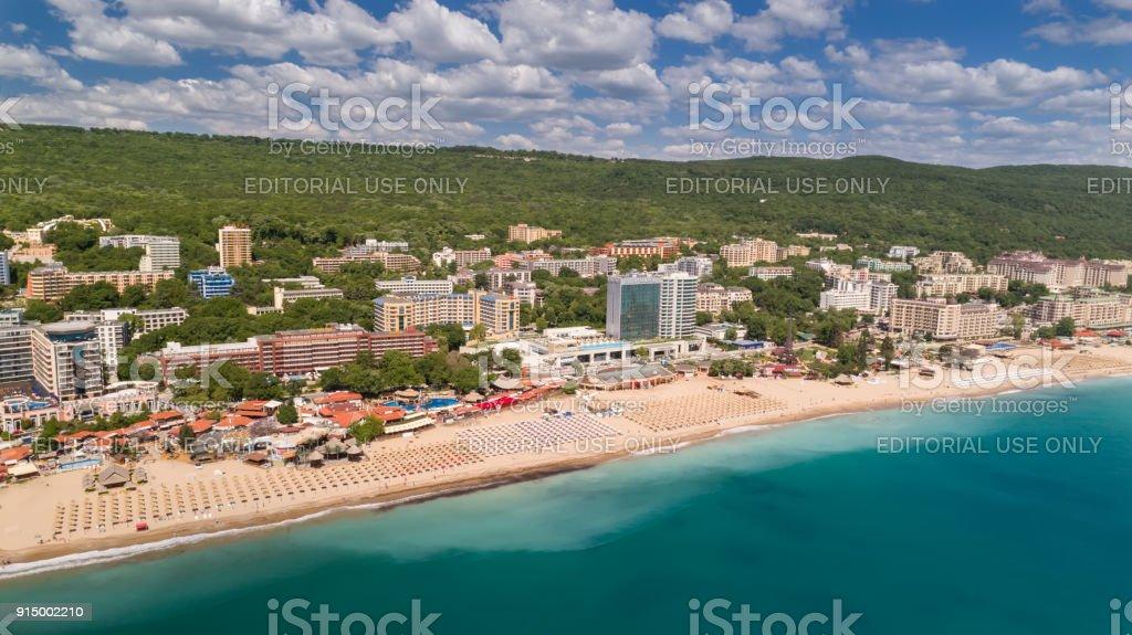 Blick Auf Den Strand Und Die Hotels In Goldstrand Zlatni Piasaci