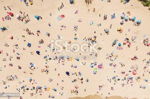 Aerial view of the beach. Gijon, Asturias