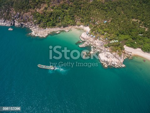 istock Aerial view of the beach with a barge 598152096