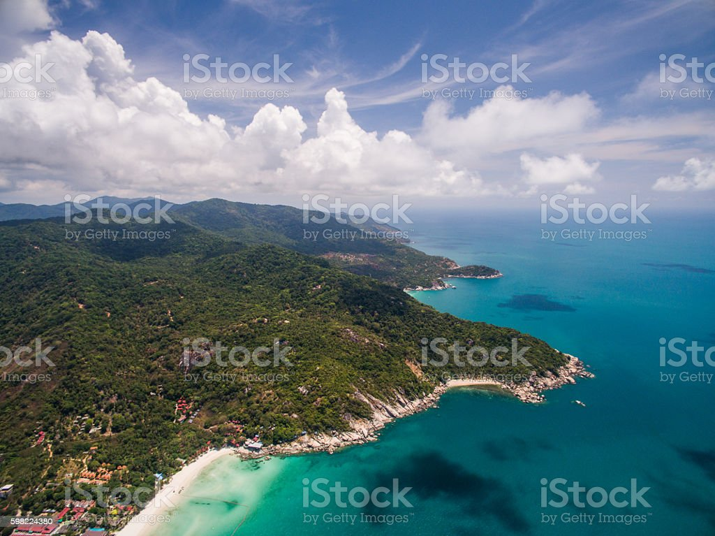 Aerial view of the beach with shallows foto royalty-free