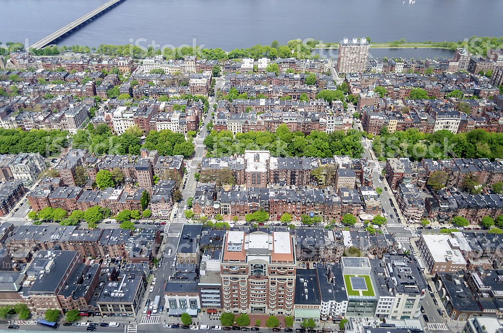 Aerial View of the Beacon Hill District, Boston, USA royalty-free stock photo