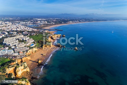 Aerial view of the beautiful city of Lagos from the D. Ana beach (Praia de D. Ana), in Algarve, Portugal