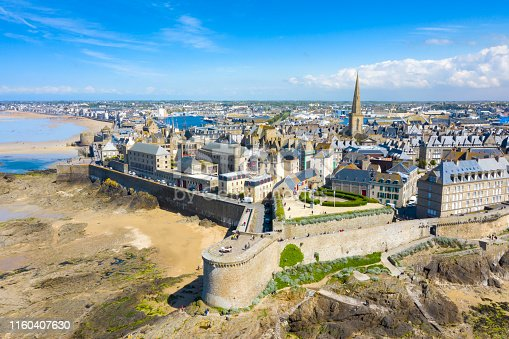 Aerial view of the beautiful city of Privateers - Saint Malo, France