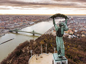 Aerial view of the beautiful Hungarian Statue of Liberty
