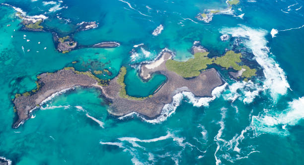 Aerial view of the beautiful Las Tintoreras, Isla Isabela, Galapagos Islands, Ecuador stock photo