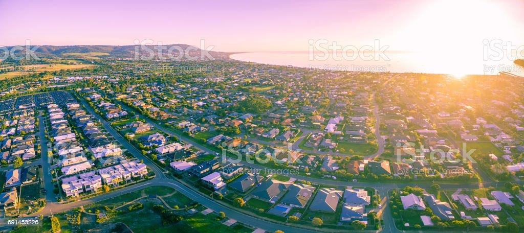 Aerial view of the beautiful Mornington Peninsula suburubs at sunrise. Melbourne, Australia stock photo