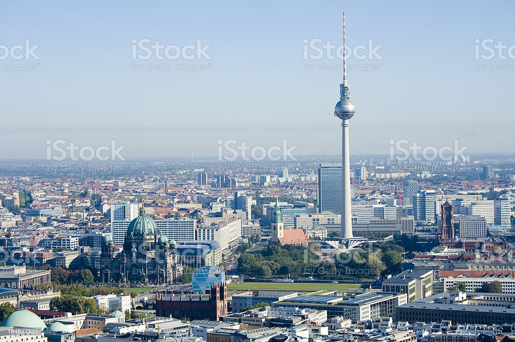 Aerial View of the Berlin TV Tower in Germany royalty-free stock photo