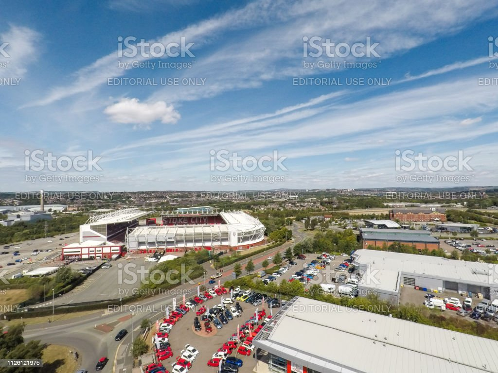 Aerial View Of The Bet365 Stadium Home Of Stoke City