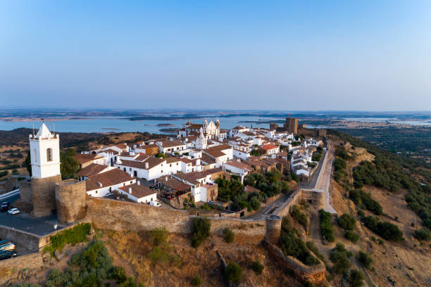 Aerial view of the beutiful historical village of Monsaraz, in Alentejo stock photo