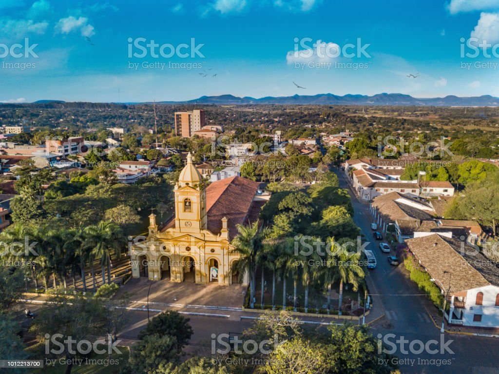 Aerial view of the big new church in Villarrica - Paraguay stock photo