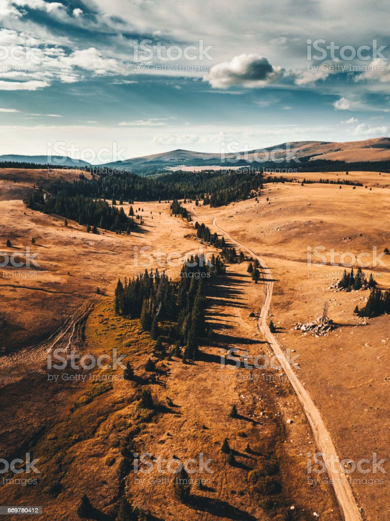 aerial view of the bighorn national forest stock photo