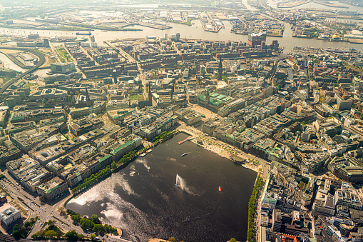 Aerial view of the Binnenalster in Hamburg