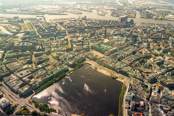 Aerial view of the Binnenalster in Hamburg stock photo