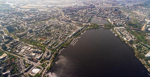 Aerial view of the Binnenalster in Hamburg