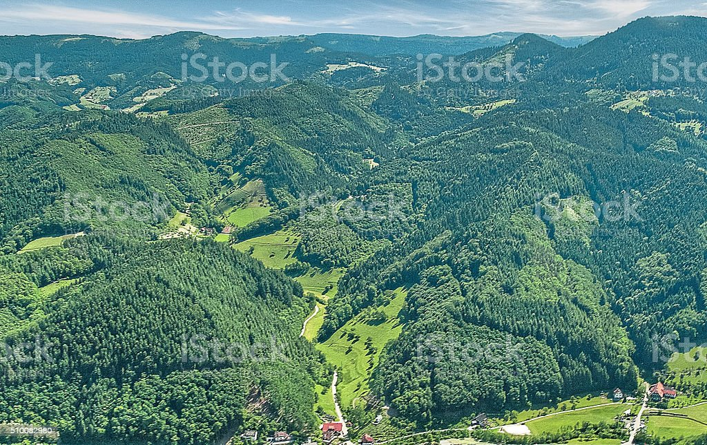 Aerial view of the Black Forest mountains in Germany stock photo