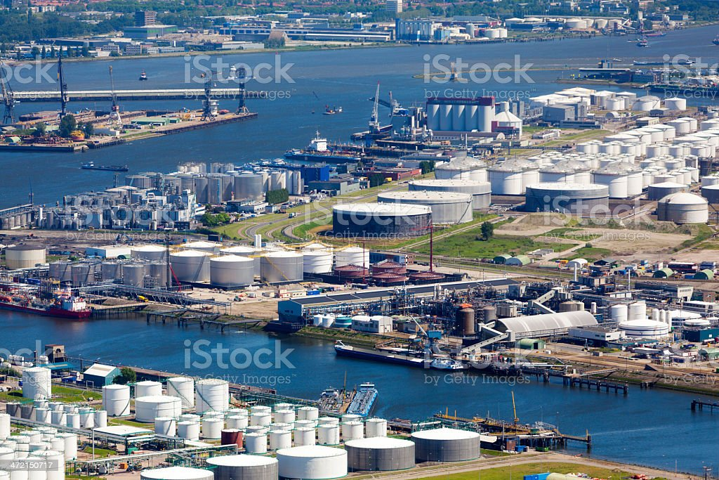 Aerial view of the Botlek, Rotterdam stock photo