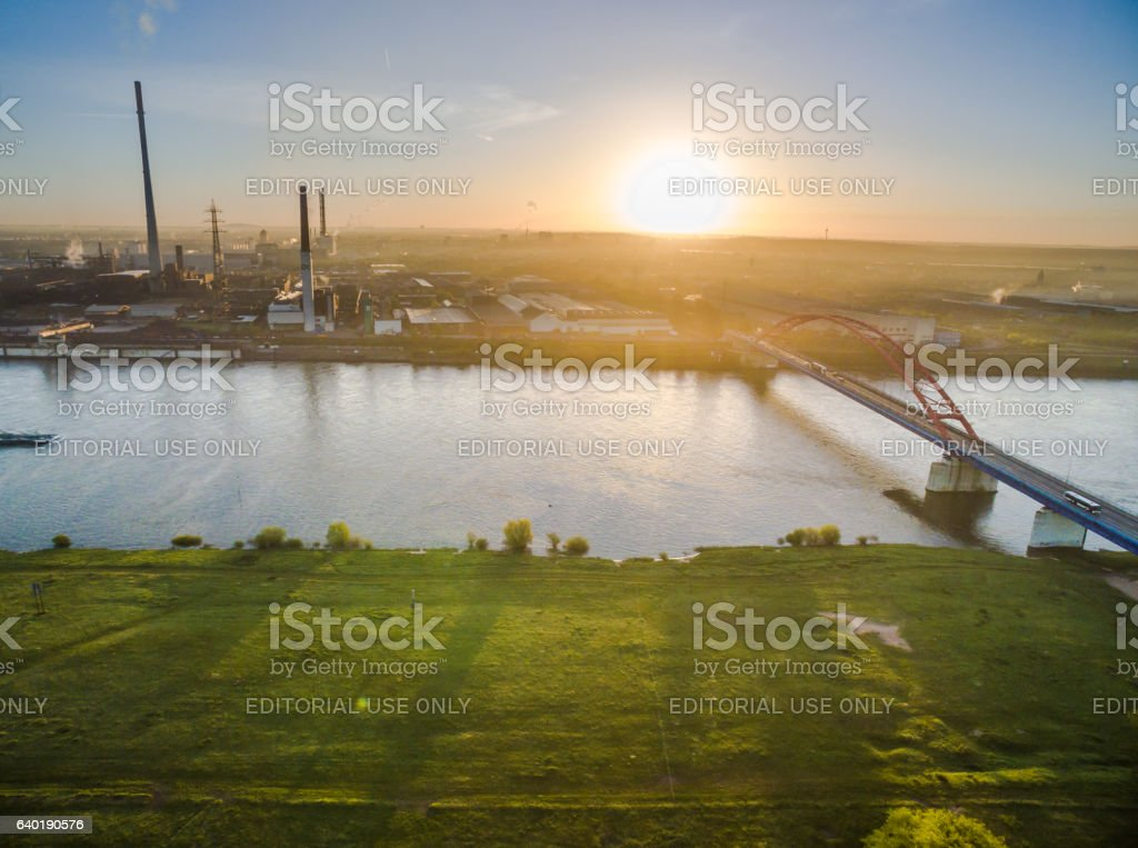 Aerial view of the bridge of solidarity stock photo