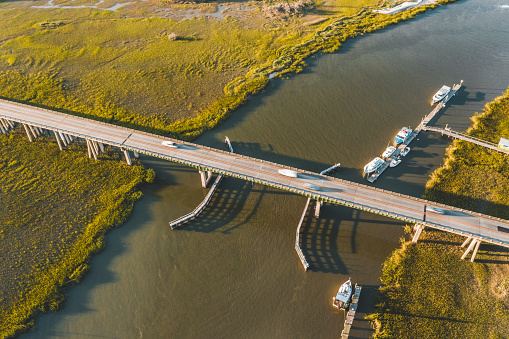 Aerial view of the bridge on the road connecting Savannah and Tybee Island.