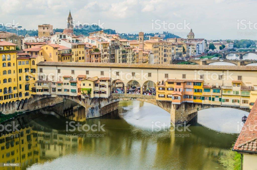 Aerial view of the bridge vecchio stock photo