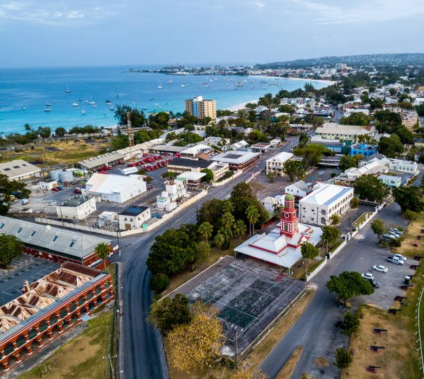Aerial view of the Bridgetown -capital of Barbados stock photo