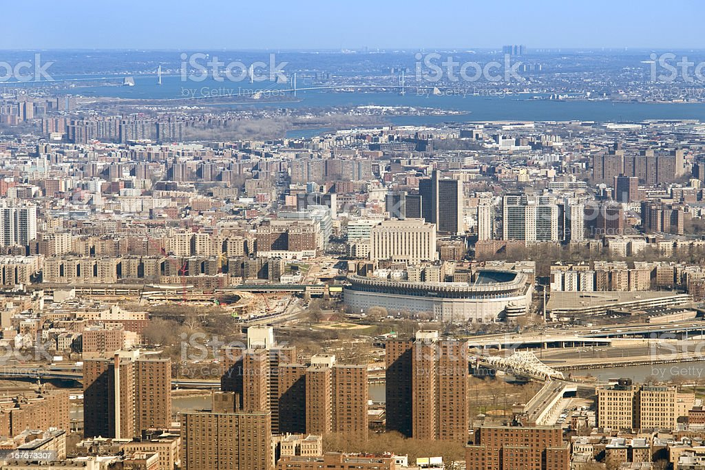 Aerial View Of The Bronx New York Two Yankee Stadiums stock photo